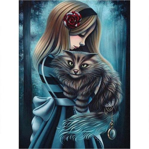 5D Diamond Painting Girl Holding a Cat Kit
