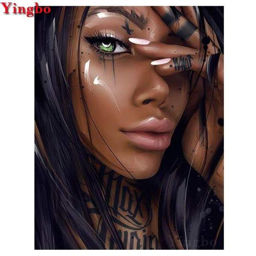 5D Diamond Painting Green Eye Woman Kit