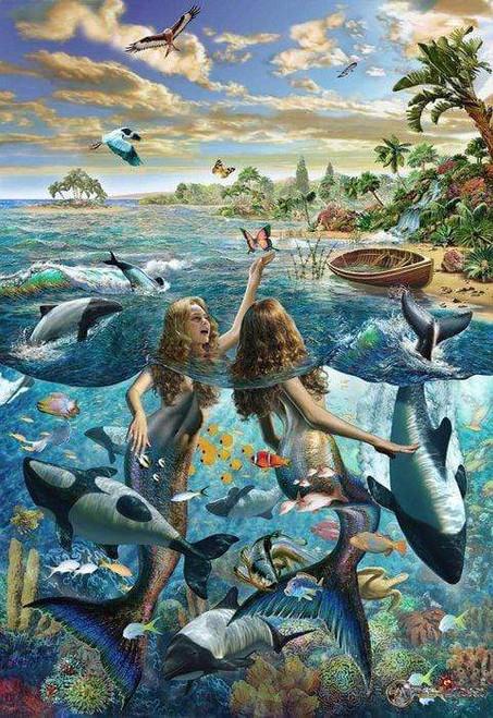 5D Diamond Painting Mermaids Playing Kit