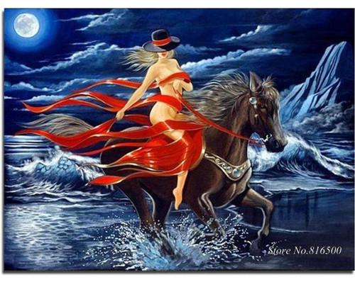 5D Diamond Painting Black Hat Woman on a Horse Kit