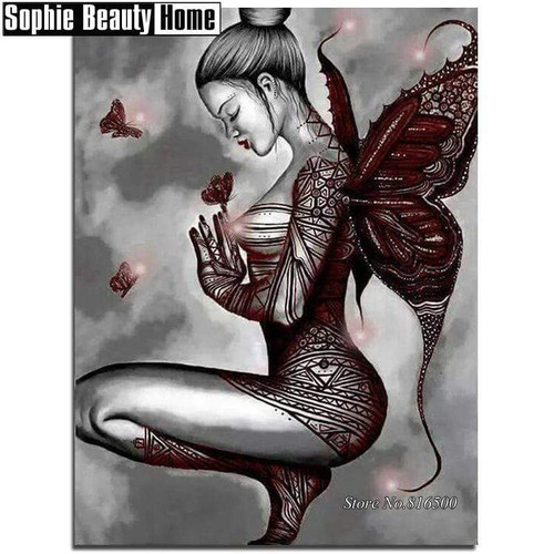 5D Diamond Painting Tattoo Butterfly Girl Kit