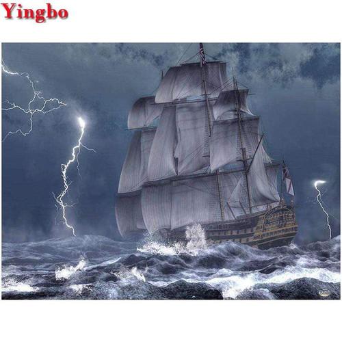 5D Diamond Painting Ship in a Lightning Storm Kit