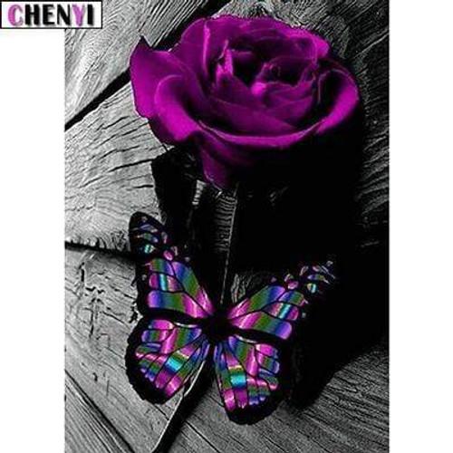 5D Diamond Painting Purple Rose Butterfly Kit