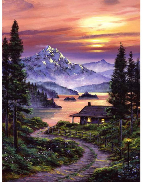 5D Diamond Painting Road to the Cabin Kit