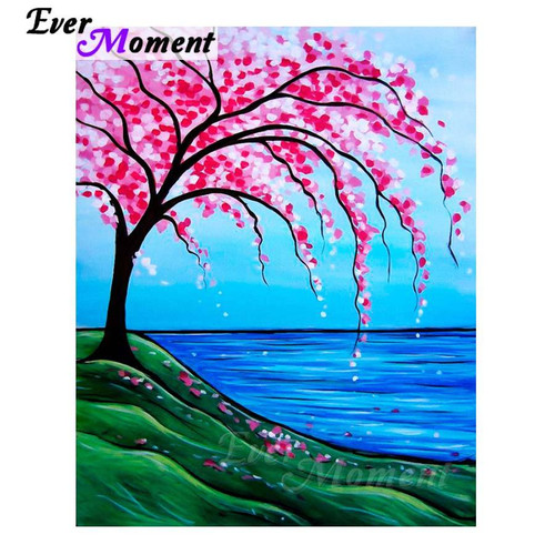5D Diamond Painting Pink Tree by the Water Kit
