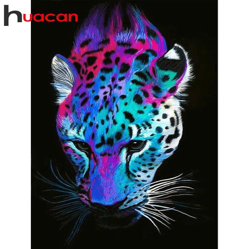 5D Diamond Painting Colorful Leopard Face Kit