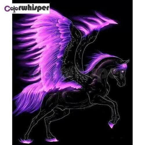 5D Diamond Painting Purple Wing Black Pegasus Kit