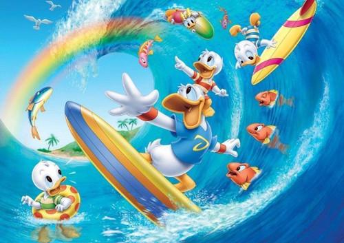 5D Diamond Painting Surfing Donald Duck Kit