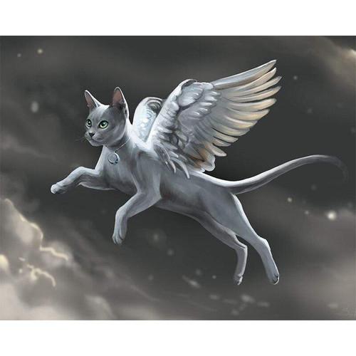5D Diamond Painting Flying Angel Cat Kit