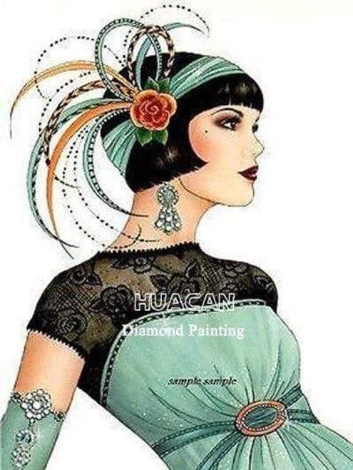 5D Diamond Painting Green Dress Flapper Kit