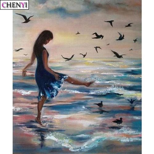 5D Diamond Painting Girl on the Shore Kit