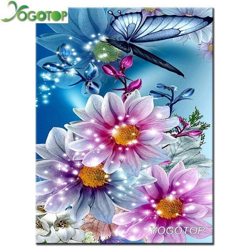 5D Diamond Painting Flowers and Butterflies Kit