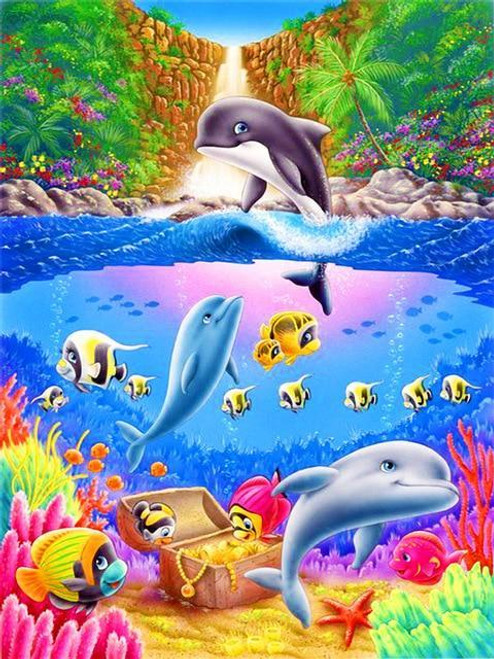 5D Dianond Painting Colorfull Orca Falls Kit