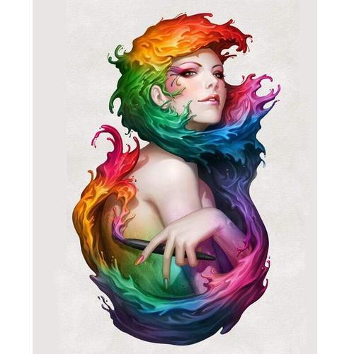 5D Diamond Painting Rainbow Water Hair Kit