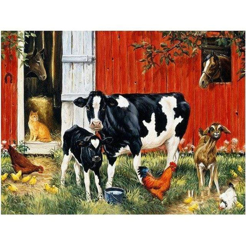 5D Diamond Painting Animals Outside the Red Barn Kit