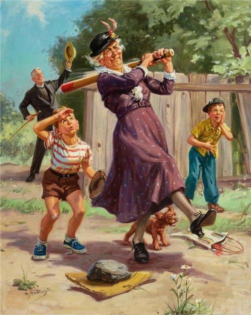 5D Diamond Painting Grandma Playing Baseball Kit