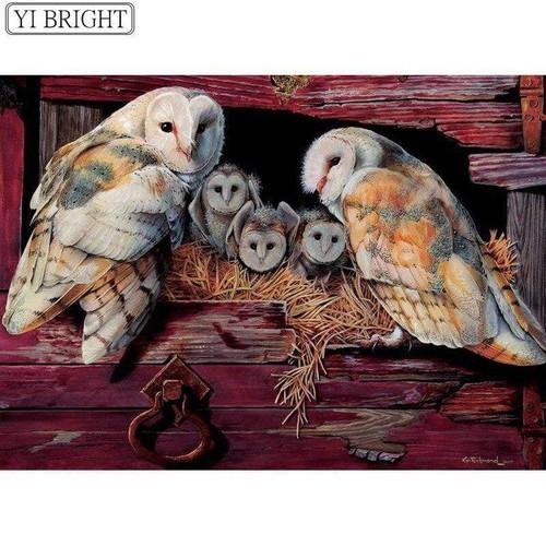 5D Diamond Painting Barn Owl Family Kit