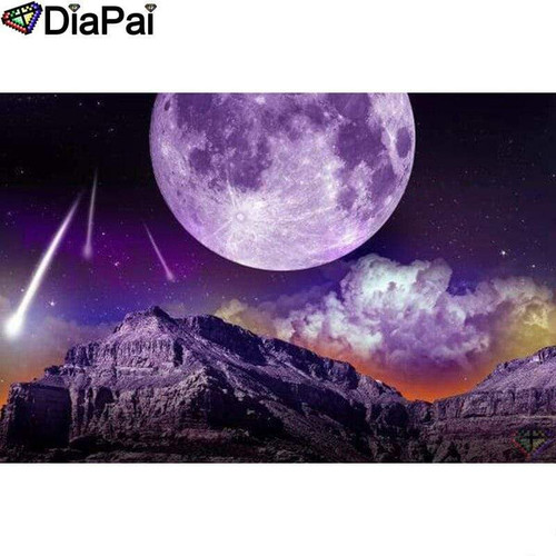 5D Diamond Painting Purple Planet Mountains Kit