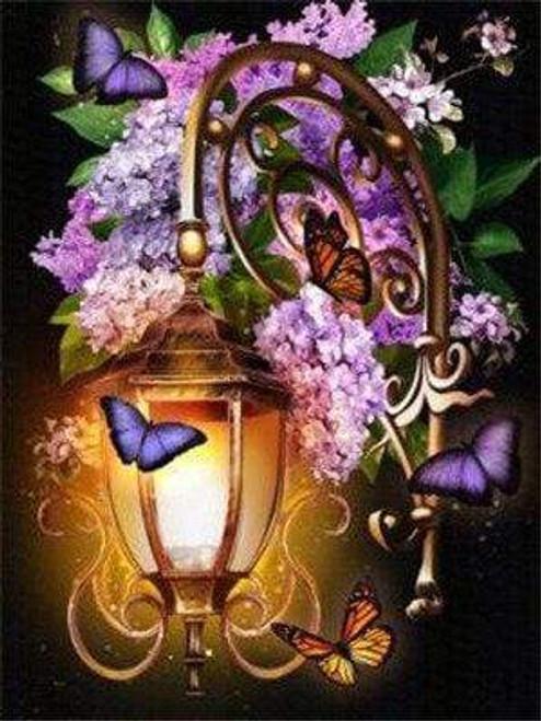 5D Diamond Painting Purple Butterfly Lantern Kit