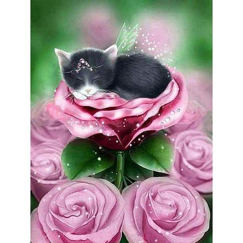 5D Diamond Painting Kitten Flower Fairy Kit
