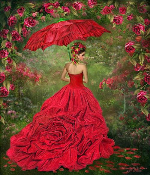5D Diamond Painting Red Rose Parasol Kit