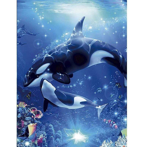 5D Diamond Painting Mother & Baby Orcas Kit