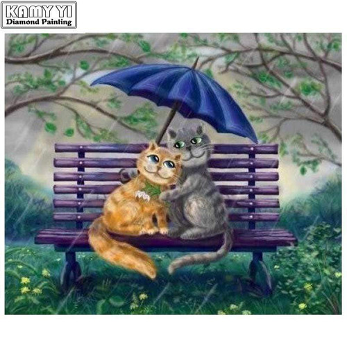 5D Diamond Painting Cats in the Rain Kit