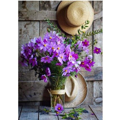 5D Diamond Painting Hats and Purple Flowers Kit