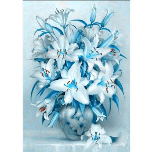 5D Diamond Painting Vase of Blue Lillies Kit