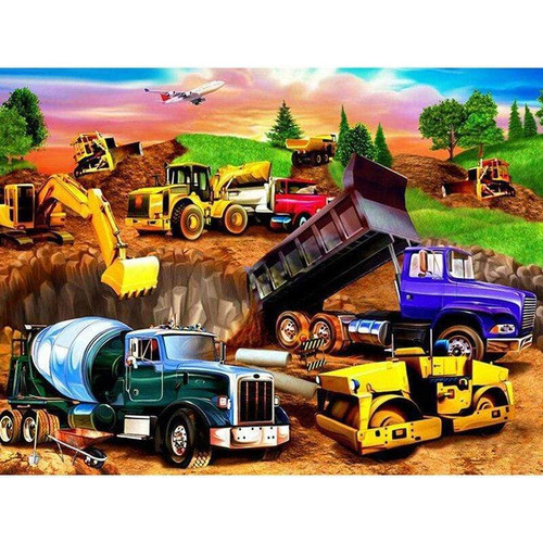 5D Diamond Painting Truck and Tractor Collage Kit