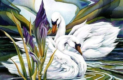 5D Diamond Painting Two Swan Pond Kit