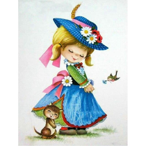 5D Diamond Painting Blue Hat Girl Kit
