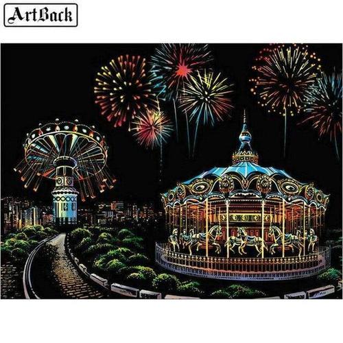5D Diamond Painting Carousel and Fireworks Kit