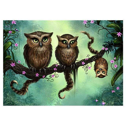 5D Diamond Painting Three Owls Kit