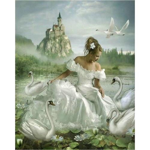 5D Diamond Painting White Dress & Swans Kit