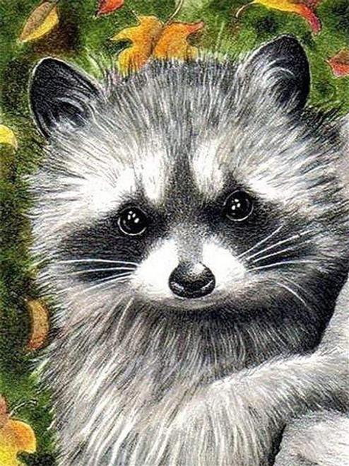 5D Diamond Painting Little Raccoon Kit