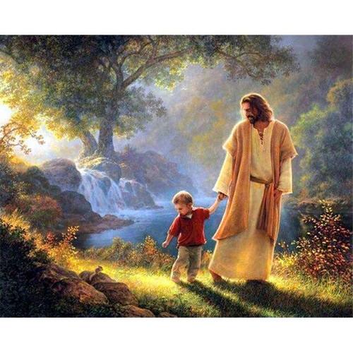 5D Diamond Painting Jesus Walks with a Little Boy Kit