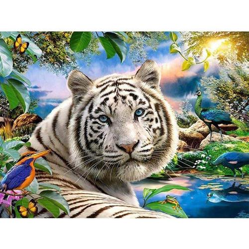 5D Diamond Painting White Tiger & Peacocks Kit
