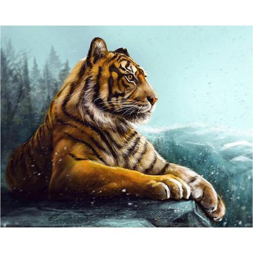 5D Diamond Painting Snowy Rock Tiger Kit