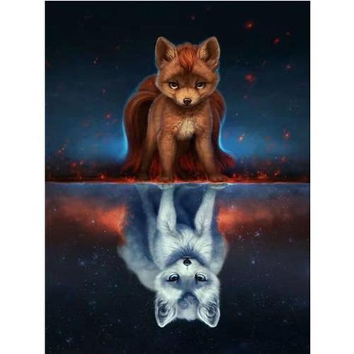 5D Diamond Painting Fox Ghost Reflection Kit