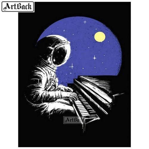 5D Diamond Painting Astronaut Playing Piano Kit