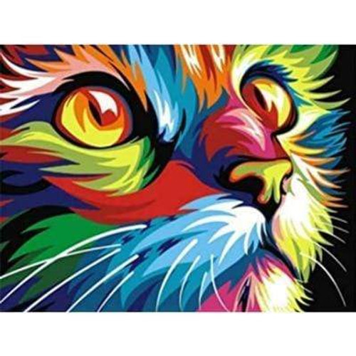 5D Diamond Painting Abstract Colored Cat Kit