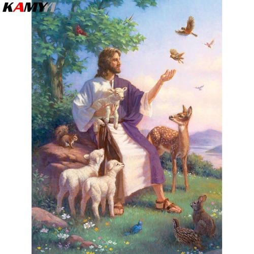 5D Diamond Painting Jesus Caring for Animals Kit