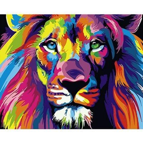 5D Diamond Painting Abstract Colored Lion Kit