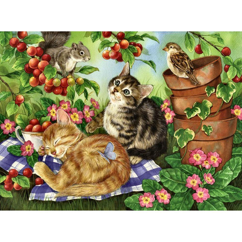 5D Diamond Painting Two Kittens and a Squirrel Kit