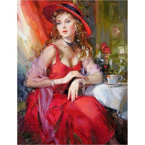 5D Diamond Painting Red Dress and Tea Kit