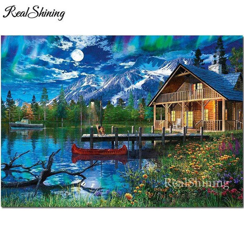 5D Diamond Painting Red Canoe Cabin Kit