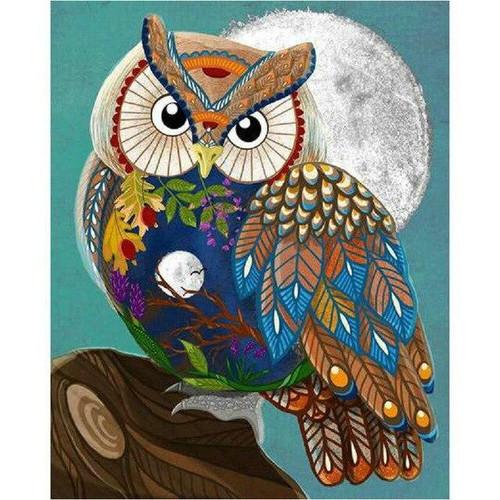 5D Diamond Painting Abstract Moon Owl Kit