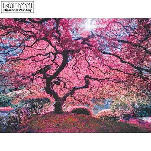 5D Diamond Painting Pink Tree in the Sunlight Kit