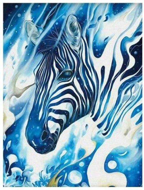 5D Diamond Painting Blue Wavy Zebra Kit